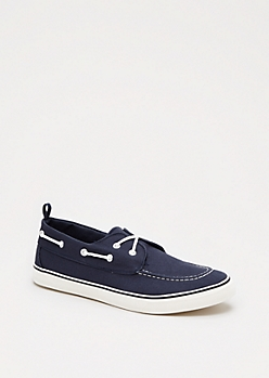 Navy Canvas Boat Shoe