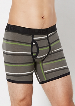 Gray Striped Boxer Brief