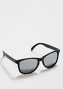 Black Retro Mirror Lens Sunglasses