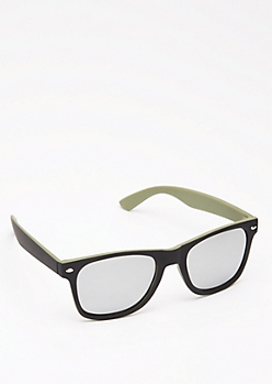 Black & Olive Retro Sunglasses