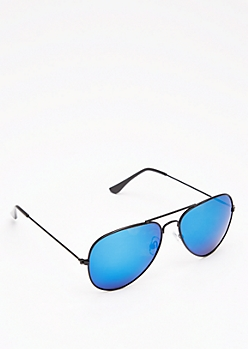 Deep Blue Mirrored Aviators