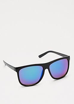 Black Flat Top Retro Mirror Sunglasses