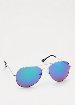 Blue Mirror Silver Tone Aviators