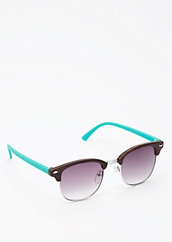 Turquoise Half-Frame Sunglasses