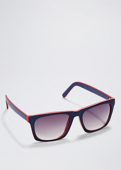 Blue & Red Square Retro Sunglasses