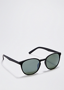 Black Ribbed Retro Sunglasses