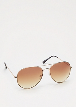 Brown Metal Aviators