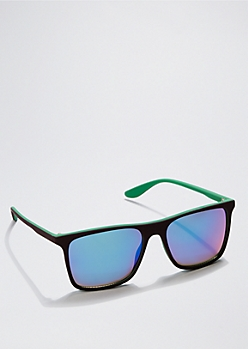 Brown & Green Square Retro Sunglasses