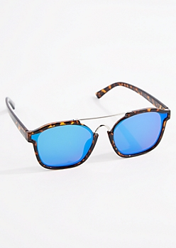 Tortoiseshell Mirrored Browbar Sunglasses