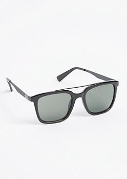 Black Brow Bar Square Frame Sunglasses