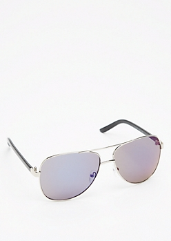 Brilliant Blue Silver Frame Aviators