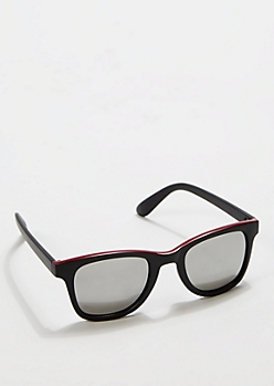 Burgundy Top Matte Mirror Retro Sunglasses