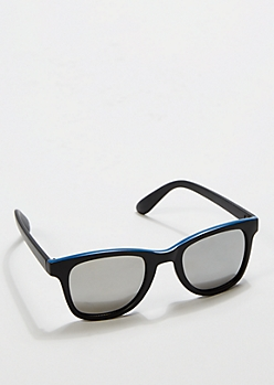 Blue Top Matte Mirror Retro Sunglasses