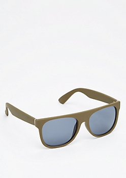 Burgundy Matte Flat Brow Sunglasses