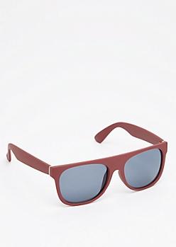 Olive Matte Flat Brow Sunglasses