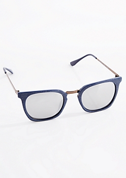 Navy Wood Grain Mirror Sunglasses