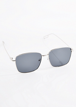 Square Silver Wireframe Sunglasses
