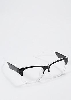 Retro Black Rimmed Clear Lens Glasses