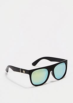 Retro Matte Mirrored Lens Sunglasses
