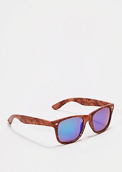 Retro Wooden Mirrored Sunglasses
