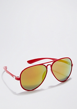Red Coated Mirror Lens Aviators