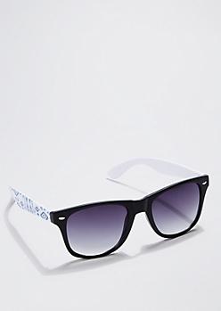 Blue Aztec Color Block Sunglasses