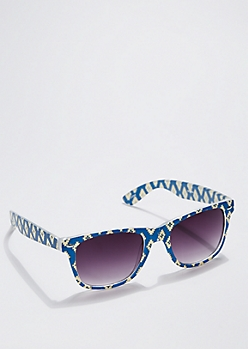 Blue Aztec Frosted Sunglasses