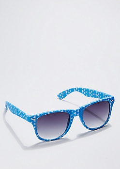Blue Geometric Retro Sunglasses