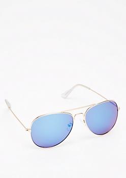 Golden Blue Mirror Lens Aviators