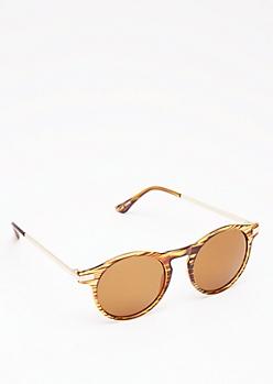 Tortoiseshell Rounded Keyhole Sunglasses