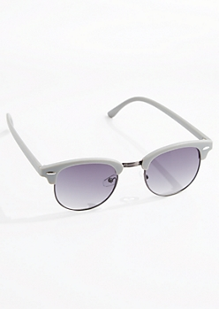 Gray Retro Half-Frame Sunglasses