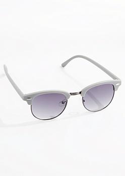 Gray Retro Half-Frame Sunglasses