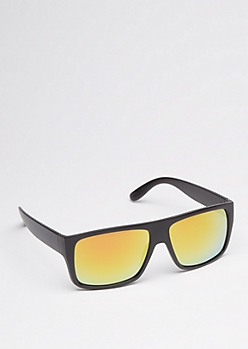 Orange Mirror Lens Flat Top Sunglasses