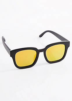 Orange Mirror Lens Retro Sunglasses