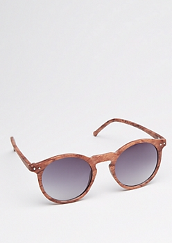 Faux Wood Grain Round Sunglasses