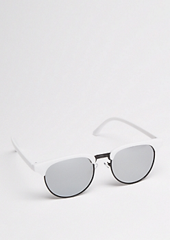 White Half Frame Mirror Lens Sunglasses