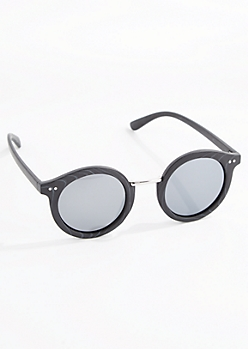 Black Faux Wood Round Sunglasses