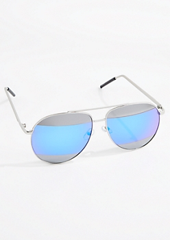 Split Mirror Lens Aviator Sunglasses