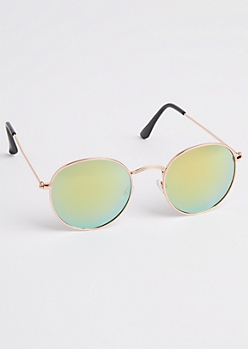 Rounded Gold Metal Sunglasses