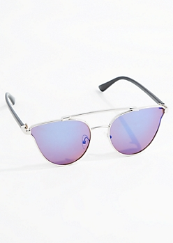 Silver Winged Retro Aviators