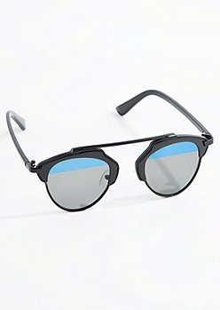 Black Elevated Brow Bar Sunglasses