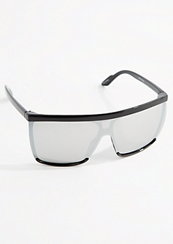 Silver Mirror Lens Shield Sunglasses