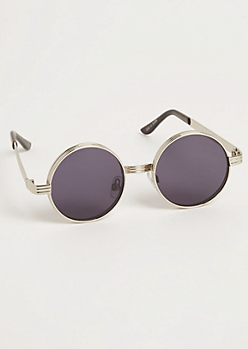 Rounded Silver Metallic Sunglasses