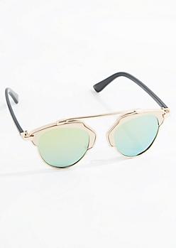 Golden Retro Mirror Lens Sunglasses