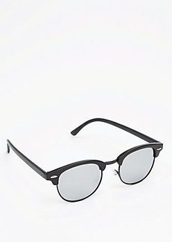 Matte Mirrored Half-Frame Sunglasses