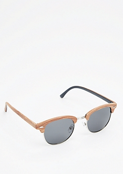 Wooden Half-Frame Smoked Sunglasses