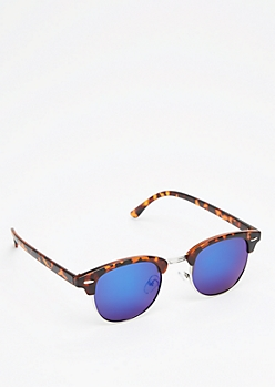 Tortoiseshell Half-Frame Mirrored Sunglasses