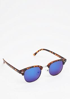 Tortoiseshell Half-Frame Mirrored Sunglasses