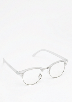 Clear Frosted Half-Frame Glasses