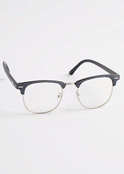 Gray Faux Wooden Half-Frame Glasses